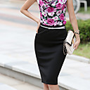 Women's Solid Color Pencil Skirt (Belt is Not Included)