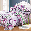 4PCS Circle Pattern Quilted Cotton Duvet Cover Set