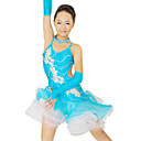 Performance Dancewear Spandex and Tulle with Flowers Latin Dance Dress For Children More Colors