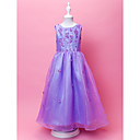 A-line Scoop Floor-length Organza Flower Gril Dress