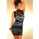 Women's Black Elegant Floral Mesh Lace Dress(Bust:86-102cm Waist:58-79cm Hip:90-104cm length:85cm)