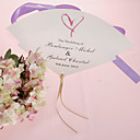 Personalized Pearl Paper Hand Fan - Heart (Set of 12)