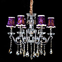 Crystal Pendant Light with 6 Purple Hat Shade Light