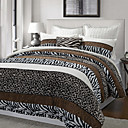 3PCS Aarhus Leopard / Zebra Stripe Poly Velvet Twin / Queen / King Conjunto Capa de edredon