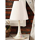 40W Modern Table Light with Fabric Shade and Flower Decor in Lampstand