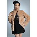 Long Sleeve Standing Collar Rex Rabbit Fur Casual/Party Jacket