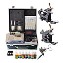2 Iron Cast Tattoo Gun Kit avec cran LCD de puissance et 7 couleurs d'encre