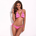 Playful with Ruffle Trim – RELLECIGA Light Pink Ruffle Front Triangle Top Silky-Soft Bikini Set with Printed Rhinestone Detail