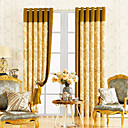 (Two Panels) Classic Jacquard Polyester Cotton Blend Gold Novelty Energy Saving Curtains