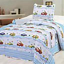 3PCS Car Pattern Cotton Queen Size Quilt Set