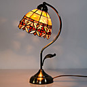 40W Artistic Tiffany Table Light with Floral Stained Glass Shade in Arc Arm Style