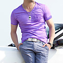 Herren V Neck Cotton Solid Color Kurzarm T-Shirt
