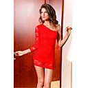 Elegant Red One-shoulder Lace-Trim Dress(Length:64cm Bust:86-102cm  Waist:58-79cm  Hip:90-104cm)