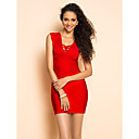 TS Deep V Neck Slim Bodycon Bandage Dress