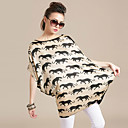 Women's Plus Size Leopard Print Dress(Bust:Up to 180cm,Length:83cm)