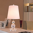 40W Modern Table Light with Crystal Globe Lamp Pole and Fabric Shade in Polished Chrome