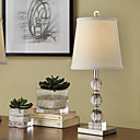 40W Modern Table Light with Fabric Shade and Crystal Lampstand in Metal Skeleton
