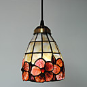 40W Traditional Tiffany Pendant Light with Stained Glass Shade in Floral Design