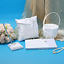 Elegant Wedding Collection Set In White Satin  (4 Pieces)