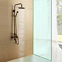 Antique Brass Single Handle Wall Mount Rain + Handheld Shower Faucet