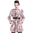Beautiful Long Sleeve Collarless Rabbit Fur Casual/Party Coat (More Colors)
