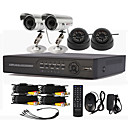 4 canales DVR CCTV Sistema de grabacin de alta definicin (2 Cmara impermeable al aire libre y 2 Cmara domo para interiores)