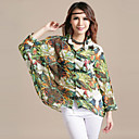 Women's Chiffon Plus Size Print Shirt(Bust:Up to 130cm)