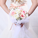 Round Pink & White Satin / Cotton Rose Wedding Bridal Bouquet