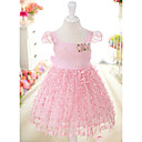 Sweet Short Sleeve Cotton/Lace Wedding/Evening Flower Girl Dress