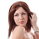 Lace Front Auburn Short Straight Mixed Hair Wigs with Twenty-percent Human Hair