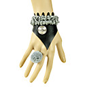 Handmade Black and Gray PU Leather Punk Lolita Bracelet