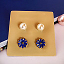 Unique Pearl and Blue Flower Shape Earrings Set