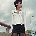 Women's Solid Color Slim PU Leather Jacket with Zip Detail
