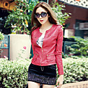 Stylish Long Sleeve Collarless PU Casual/Party Jacket(More Colors)