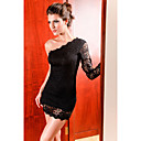 Elegant Black One-shoulder Lace-Trim Dress(Length:64cm Bust:86-102cm  Waist:58-79cm  Hip:90-104cm)