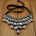 Women's Big Silver Black Diamond Beaded Black Ribbon Necklace
