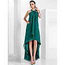 A-line Halter Asymmetrical Chiffon Evening Dress