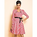TS VINTAGE Rockabilly Girl Check Pattern Drawstring Dress