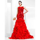 Trumpet/Mermaid Bateau Court Train Sequined And Organza Evening Dress