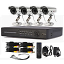 4 Systme DVR CCTV canal avec contrle PTZ (4 camra extrieure impermable  l'eau)
