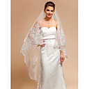 Gorgeous One-tier Chapel Wedding Veils With Lace Applique/Finished Edge