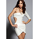 White One Sleeve Cut Out  Mini Dress(Bust:86-102cm Waist:58-79cm Hip:90-104cm Length:75cm)