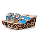 Medd PU Leopard Rhinestone Bead Surface Thick Bottom Wedge Heel Blue Shoes