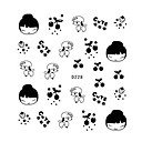 5PCS Water Transfer Printing Ultrathin Nail Stickers Cartoon