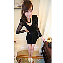 Women's Bow Pleated Long Lace Sleeve Dress
