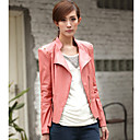 Long Sleeve Standing Collar PU Casual/Party Jacket(More Colors)