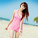 Women's Fashion Cute Halter Solid Color V-neck Swim Dress