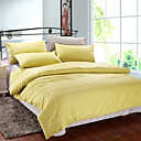 4PCS Yellow & Gray Print Cotton Duvet Cover Set