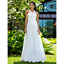 Sheath/Column Jewel Sweep/Brush Train Chiffon Wedding Dress