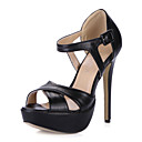 Leatherette Stiletto Heel Sandals With Platform Party / Evening Shoes